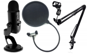BLUE YETI STUDIO BLACKOUT + POP FILTR + STATYW