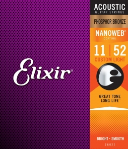 ELIXIR NANOWEB PHOSPHOR  BRONZE CUSTOM LIGHT 11-52